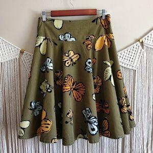 Anthropologie FEI Green Butterfly Corduroy Skirt 2